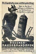 Riessner Ofen Nürnberg Reklame von 1926 Teufel Dauerbrandofen Herd Schubkarre