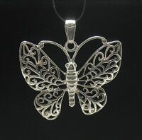 Sterling Silver Pendant Filigree Butterfly Solid Hallmarked 925 Pe000611