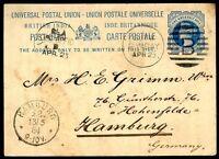 "BRITISH INDIA TO GERMANY ""B"" w/Bars Cancel on Postal Stationery 1884, VF"