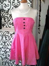 Laura Lees Little Miss Sew Hot Pink Satin Shiny 50's Dress Net Trim Asos BNWT