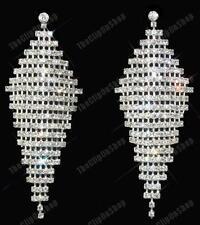 Clip on Screw HUGE Rhinestone Earrings Big Long Crystal Glam Sparkly Chandelier