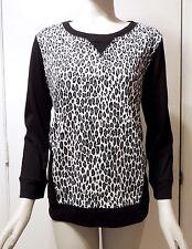 NWT Jones New York Sport Blocked Cheetah Print Knit Top, Ivory & Black, Large L