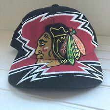 NHL Chicago Blackhawks Black Red Snapback Baseball Hat Cap Big Logo