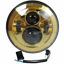 "7"" Motorcycle Gold Projector Daymaker Headlight Hi/Lo LED Light Bulb Harley"