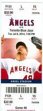 2014 Angels vs Blue Jays Ticket: R.A. Dickey win/Jose Reyes HR