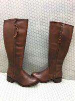 Steve Madden LANE Cognac Leather Side Zip Knee High Boots Women's Size 9.5 M
