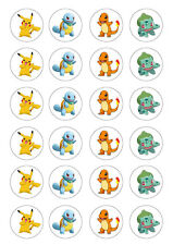 24 Pokemon assorted 4cm round cupcake edible images toppers