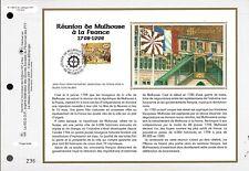 3142++FEUILLET CEF SUR  SOIE 1er JOUR 1998 REUNION DE MULHOUSE A LA FRANCE