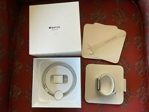 Apple Watch Series 3 38mm Stainless Steel Case with Soft White Sport Band...