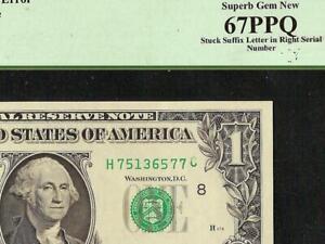 1988 A $1 DOLLAR BILL TURNED SUFFIX LETTER GAS PUMP ERROR NOTE MONEY PCGS GEM 67