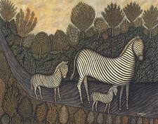 Hirshfield Morris Zebra Family Print 11 x 14  #5055