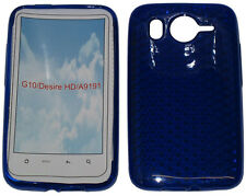 Pattern Gel Jelly Case Protector Cover Pouch For HTC Desire HD G10 A9191 BLUE UK