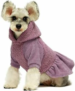 Fitwarm Fuzzy Sherpa Dog Winter Clothes Girl Dog Hoodie Dresses Thermal Skirt