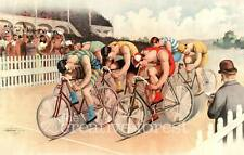 BICYCLE RACE SCENE 1895 Vintage Reproduction Rolled CANVAS ART PRINT 36x24 in.