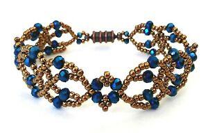 Handmade Copper Blue Iris Lace Magnetic Bracelet
