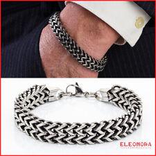 bracciale uomo in maglia a treccia di acciaio con catena inox braccialetto per :