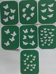 7 x Butterfly-2,  Body Art Glitter Tattoo And Glass Etching Stencils Glitter