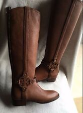 Tory Burch AMANDA TUMBLED LEATHER brown ALMOND Riding Boots sz 5 NEW