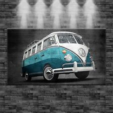 XXL Bulli T1 blau auf Leinwand 160cm x 90cm Design Bild Loft Oldtimer Klassik