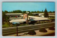 Bird's Eye, Valley Travel Lodge Motel, Bakersfield California Vintage Postcard