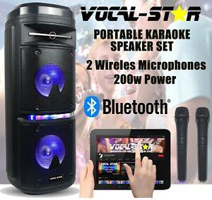 VS Portable Bluetooth Karaoke Machine LED Lights 200w Speaker 2 Wireless Mics