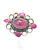 Royal Look Victorian Jewelry Natural Ruby And Polki Diamond 925 Silver A1 Ring