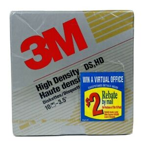 """3M 3.5"""" High Density Floppy Disks DS HD 10 Diskettes New Factory Sealed Box"""