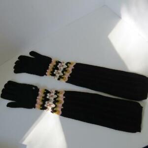 NWT Missoni Black w/Pink/White/Yellow Wool/Mohair Ladies Winter Gloves Size M