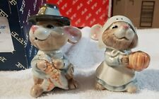 Fitz And Floyd Mayflower Mouse Salt And Pepper w/orig box Thanksgiving
