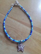 beautiful blues bead anklet/ankle bracelet with butterfly pendant