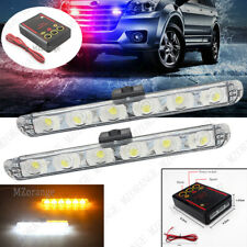 Amber White 2X 6 LED Car Truck Emergency Warning Strobe Flash Light Lamp Control