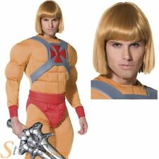 Adult He-Man Costume & Wig Mens 1980s Masters Of The Universe Fancy Dress