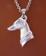 Large Sterling Silver Greyhound Head Study With A CZ collar Pendant