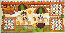 CraftEcafe Premade Scrapbook Page Paper Piecing Fall Leaves Kids BLJgraves 54