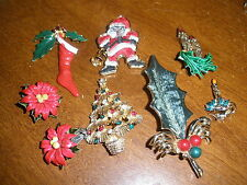 lot of vintage Christmas brooch brooches & clip on earrings costume jewelry