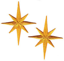 """SET OF 2 NATIVITY STARS-2 1/2"""" - Iron On Embroidered Patch - Religious,Christmas"""