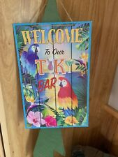 """""""Welcome To Our Tiki Bar"""" Glittery Sign With Parrots & Flowers + Tropical Scene"""