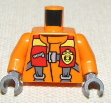LEGO NEW ORANGE CONSTRUCTION PARACHUTE  FIREFIGHTER TORSO CITY