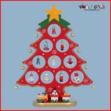 27cm en Bois Sapin de Noël avec 18 Ornements & Train - Rouge