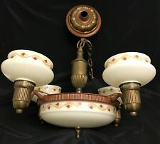 Antique Art Deco Ceiling Light Fixture Chandelier Hearts Vines Glass Slip Shade