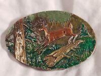 Vintage Deer Buck Belt Buckle Indiana Metal Craft