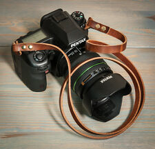 10mm Chestnut Leather Camera Strap with Brass Rivets and Rings. 38 inches long.