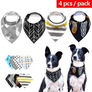 4pcs/pack Soft Cotton Bandana Dog Collar Pet Neck Scarf Puppy Neckerchief