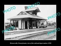 OLD LARGE HISTORIC PHOTO OF WERNERSVILLE PENNSYLVANIA, THE RAILROAD DEPOT c1920