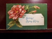 MATT'S STAMPS Vintage Floral Christmas Postcard Terre Haute Indiana 1903 Stamped