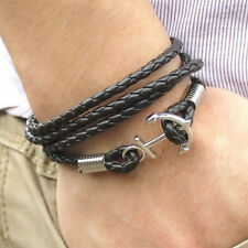 Nice Multilayer Leather Handmade Rope Wristband Men's Anchor Bracelet Bangle CC