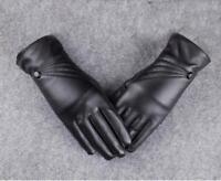 Fashion Women Ladies Leather Winter Super Warm Gloves Cashmere Mittens Black