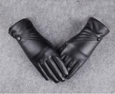 Luxury Women Ladies Leather Winter Super Warm Gloves Cashmere Mittens Black