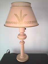 Gorgeous Antique Country Pink Metal Table Lamp w/ Hand Painted Gold Accents