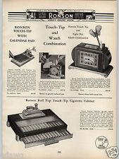 1938 PAPER AD Ronson Touch Tip Watch Desk Cigarette Lighter Clock Calendar